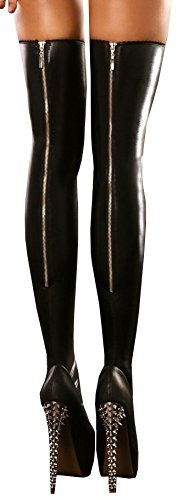 Wetlook Strapsstrümpfe Overknees (Rock Stockings) Gr. S/M L/XL Gogo Strümpfe (900653 Gr. L/XL) von Lolitta 4250789507108