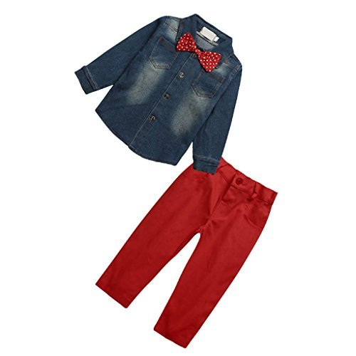 Akooya akooya 2 Neugeborene Kinder Baby Boy Denim T-Shirt Tops + Pants Outfits Kleidung SET – 3 von Akooya 6165173592890
